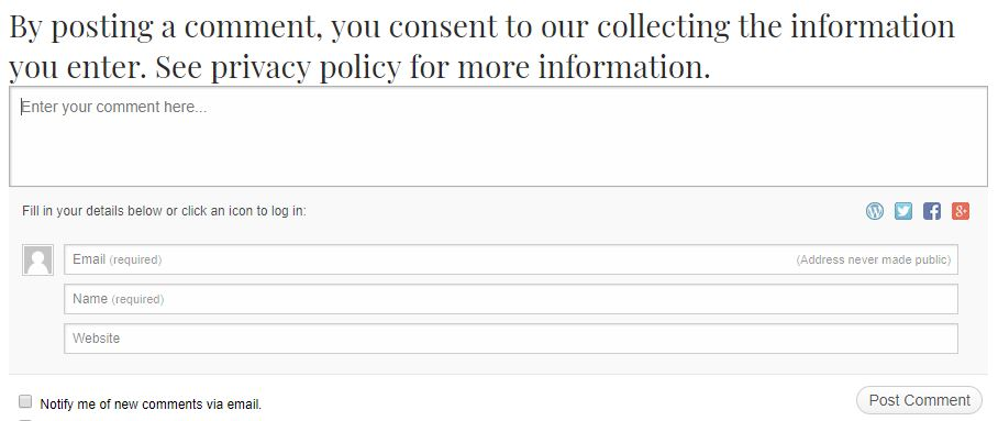 By posting a comment, you consent to our collecting the information you enter. See privacy policy for more information.