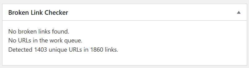 "Screenshot of Broken Link Checker, displaying ""No broken links found"""
