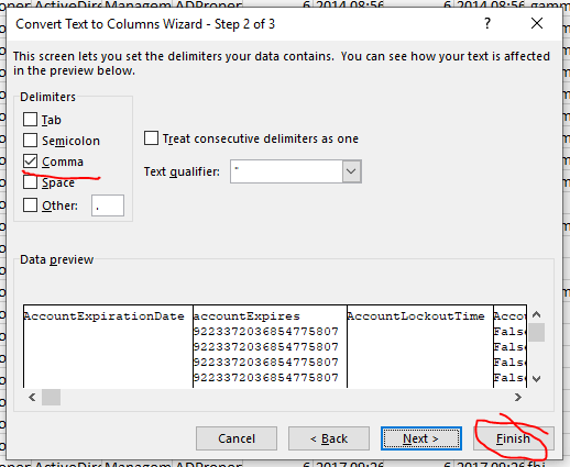 Screenshot from the Excel Convert Text to Columns Wizard, Comma checked off as the delimiter. Comma and Finish highlighted in red.