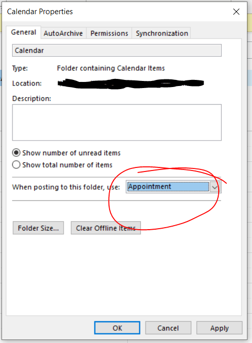 """Screenshot of Calendar Properties, the """"Appointment"""" form has been set as default for posting to the calendar."""
