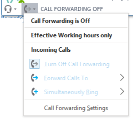 Screenshot of the Skype for Business client Call Forwarding menu.