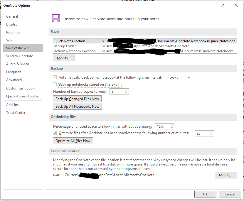 Screenshot of OneNote Options: Save & Backup. Backup is set to weekly intervals, and will keep two backup copies.
