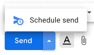Screenshot of Schedule Send functionality in GMail