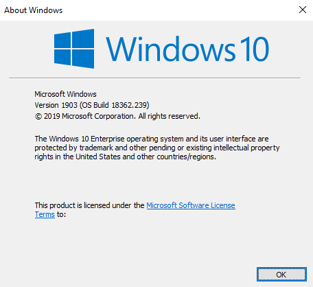 Result of winver command, showing the OS version as 1903, and the build as 18362.239