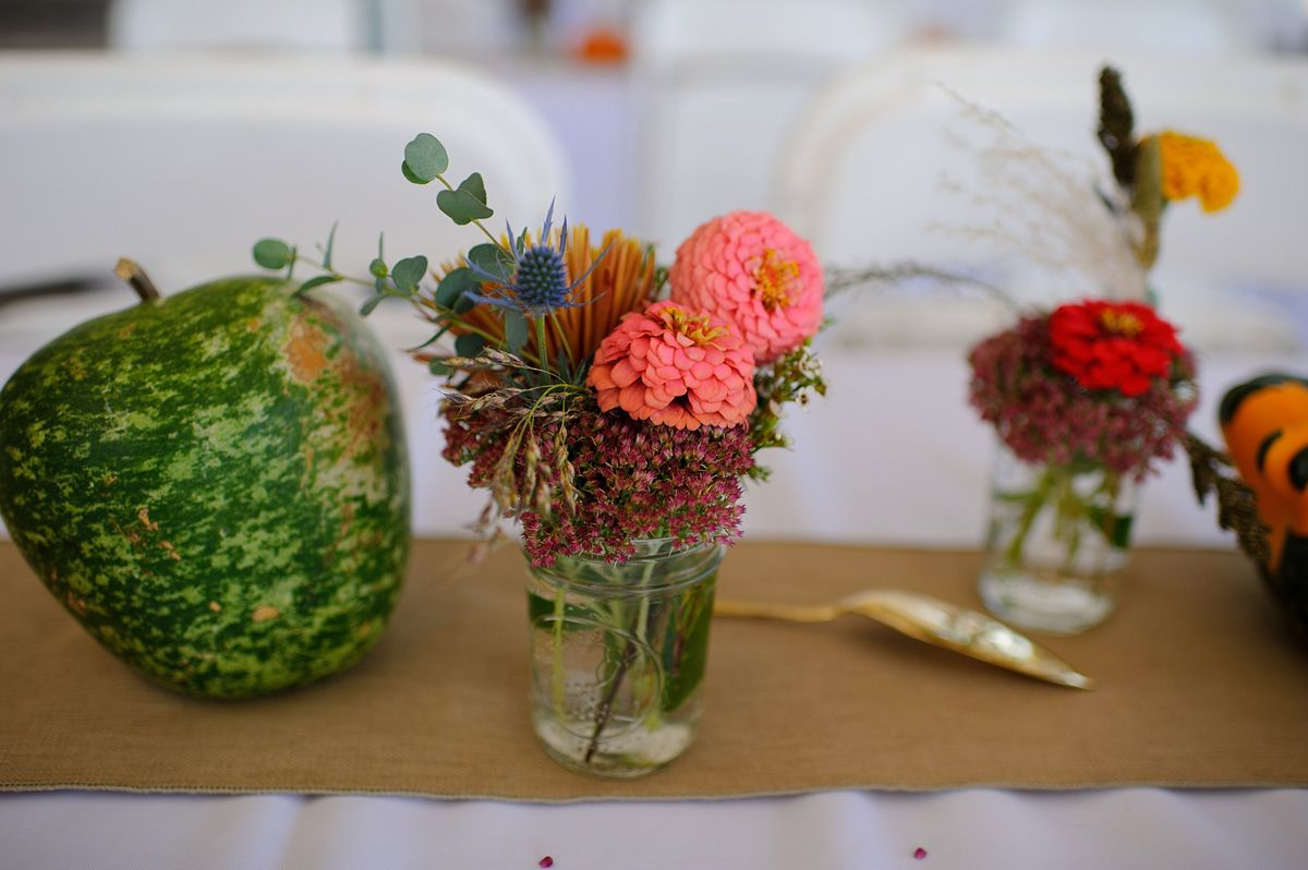 Flower Centerpieces for a barn wedding