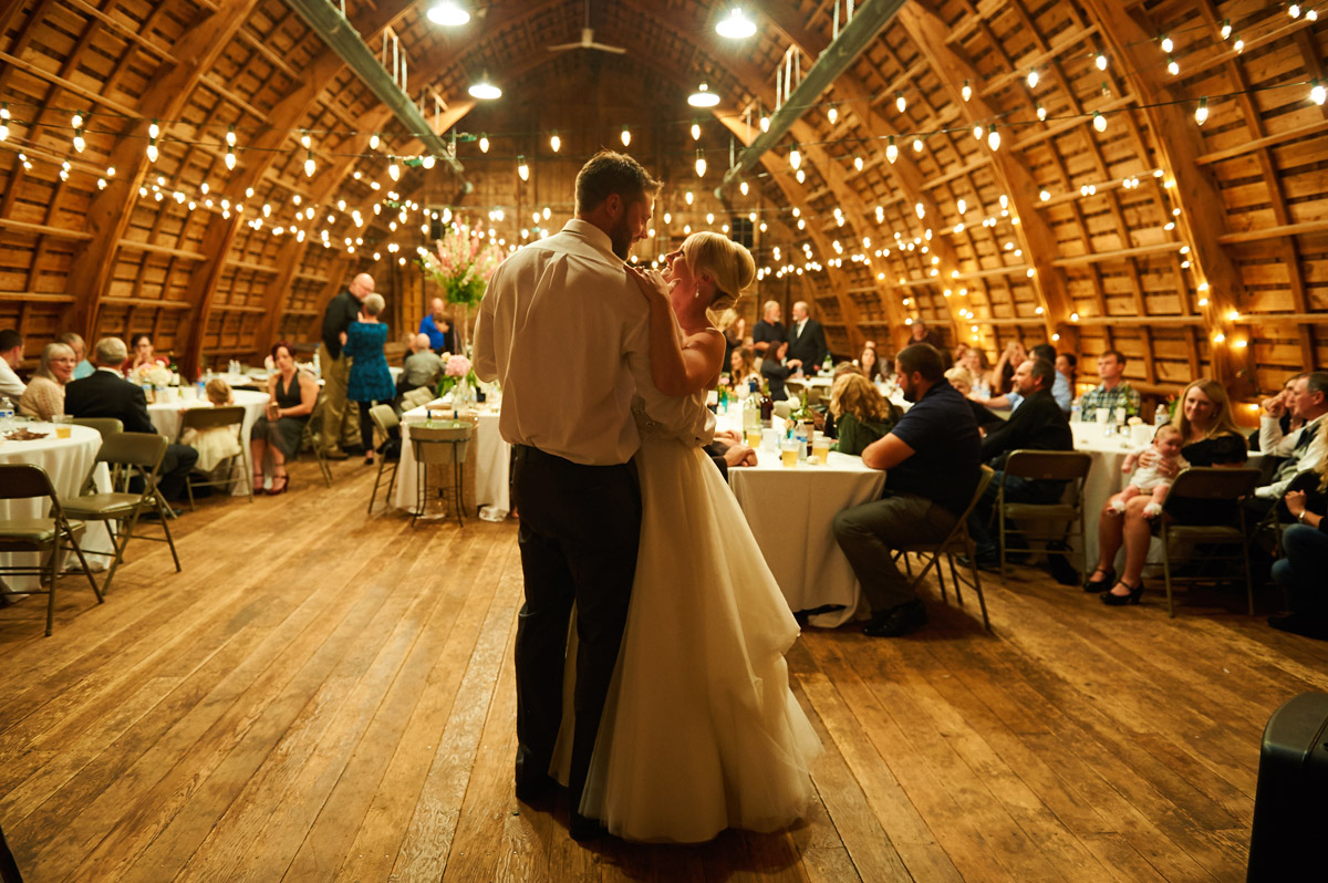 Simpson Barn wedding bride and groom first dance