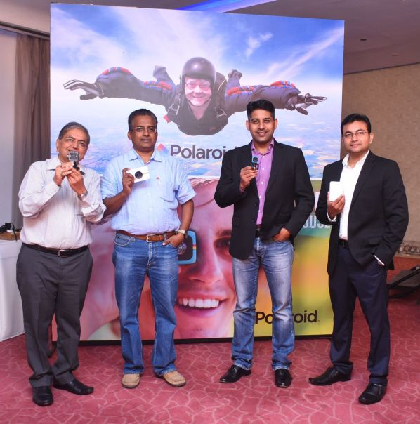 Launch of Polaroid Products in India- From Left to Right Piyush Seksaria, Director, Sektra Marketing, Sridharan Narayan- VP-Regalix, Adarsh Menon-VP-Electronics, Flipkart and Shadab Alam, Category