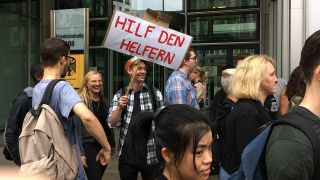 Protest der Physiotherapeuten am 05.06.2018. (Quelle: rbb/Anna Corves)