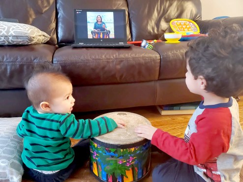 Two young music students get into the groove virtually during a class with Clara D'Onofrio of Ms. Clara's Joyful Leaning Center last week. | Photo courtesy of Ms. Clara's Joyful Learning Center