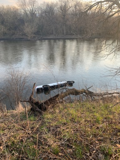 A 2003 Chevy pickup that left the roadway at Riverside and Olmsted roads in Riverside on April 9 landed on its driver's side in the Des Plaines River. The driver is in critical condition at MacNeal Hospital.   Photo courtesy of the Riverside Fire Department