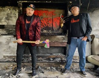 """Riverside residents James Wineman (left) and Ernesto Avina have produced a minute-long COVID-19 safety PSA in partnership with cast members from the """"Nightmare on Elm Street"""" movie franchise. A second PSA featuring the """"Child's Play"""" franchise is up next. (Photo by Gillian Wineman)"""