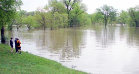 Swan Pond Park filled with water from the Des Plaines River as the river reached the second-highest crest ever recorded in Riverside. (Photo by Allen Goodcase)