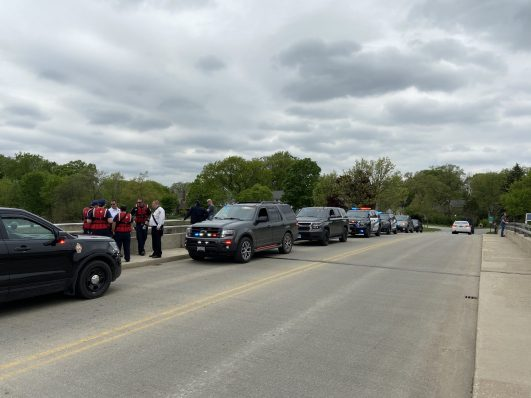 Police and firefighters from Riverside and neighboring agencies responded to search for two men whose kayaks were last seen floating, unoccupied, past the Barrypoint Road bridge (above) in Riverside at about 11:30 a.m. on May 20. (Bob Uphues/Editor)