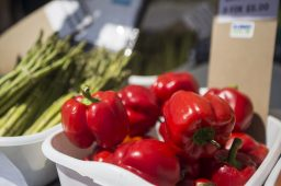 Red peppers are seen for sale at one of the booths on Saturday, June 6, 2020, during the opening weekend of the Brookfield Farmers Market outside of Village Hall in Brookfield. (Alex Rogals/Staff Photographer)