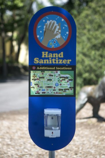 Hand sanitizing stations are seen set up throughout the entire zoo on July 2, during a members only day at the Brookfield Zoo. (Alex Rogals/Staff Photographer)