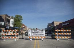 Grand Boulevard is seen blocked off for outdoor dining customers on July 25, in Brookfield. (Alex Rogals/Staff Photographer)
