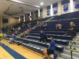 Teachers and members of the public maintain social distance while attending the Aug. 11 District 208 school board meeting in the gymnasium of the school. | Bob Skolnik/Contributor