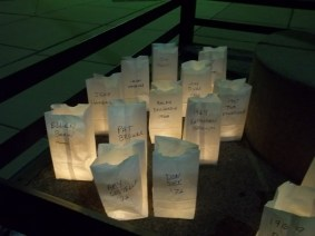 Some of the memorial illumination bags for students who no longer walk this Earth. Photo by Chris Stach.