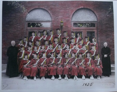 Photo of the 1935 Graduating Class, taken in front of the Old Church. Photo courtesy of Chris Stach.