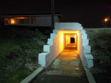 Far away: The century-old underpass creates geometric patterns at night. (Photos Courtesy of Chris Stach)