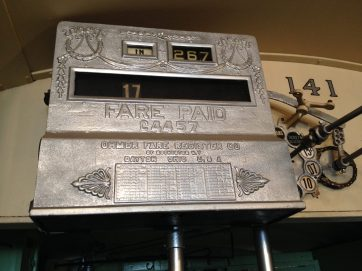 The fare register in Car 141 was salvaged from a Pacific Electric Railway car in San Diego. (Photo by Bob Uphues)