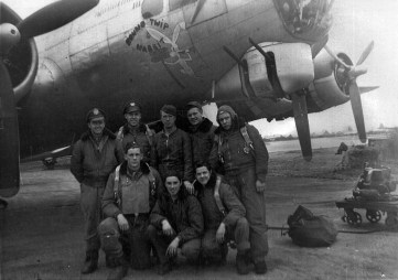 """An undated picture of the aircrew of the 'Round TWIP Wabbit & Thumper,' a B-17 Flying Fortress with the 524th Squadron, 379th Bombardment Group (Heavy), """"The Grand Slam Group,"""" in England during World War II. Flight Officer Gordon Copeland Hay Jr. can be seen in the first row on the left. Hay and the crew carried small packs of maps, guides to avoid capture, and even local-language phrase books in case they had to bail out over enemy territory. (courtesy photo)"""