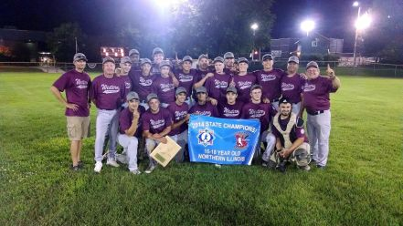 Members of Brookfield's Western Conference Babe Ruth 16 to 18-year-olds All-Stars celebrate their state championship together. (Courtesy of Julie Sickel)