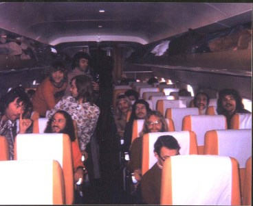 The Chase band o their DC3 enroute to Africa, 1972.