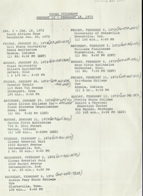 Typed show itinerary for Chase band from early 1972.