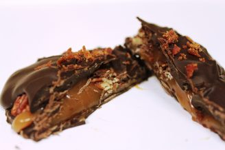 Burtle: dark chocolate caramel turtle with bacon and salted pecans