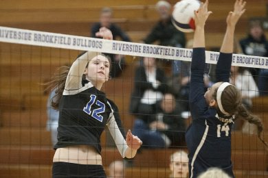 RBHS 6-foot-7 sophomore Dana Rettke is a two-sport star for the Bulldogs. While she's an excellent basketball player, volleyball is her preferred sport. (David Pierini/Staff Photographer)