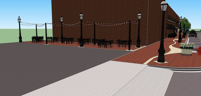 Detail of the proposed seating area for the area just west of Landmark Kitchen.