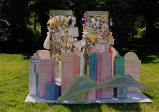 I created the Tower of Angels for the Day of Hope and Unity in November of 2001. The kid-like structure of NYC with two wire towers allowed children to create angels and hang them on the wire twin towers to allow them to memorialize all those lost on 9/11.