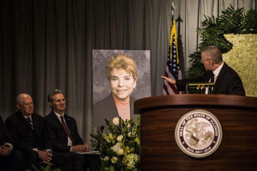 Gov. Pat Quinn at the memorial service for Judy Baar Topinka. (Photo by Alex Wroblewski)