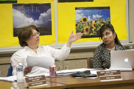 District 96 board President Mary Rose Mangia, left, and Supt. Bhavna Sharma-Lewis during a May 2014 meeting. (File 2014)