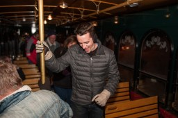 Patrons celebrate a chilly Mardi Gras in a trolly that gave free rides to multiple bars around the city. It was part of Mardi Gras Pub Craw a yearly celebration of Mardi Gras in Brookfield. | William Camargo: Contributing photographer