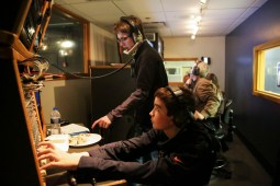 Students work behind the scenes at the Riverside-Brookfield Telethon on Saturday, Feb. 21, 2015.   Chandler West/Staff Photographer