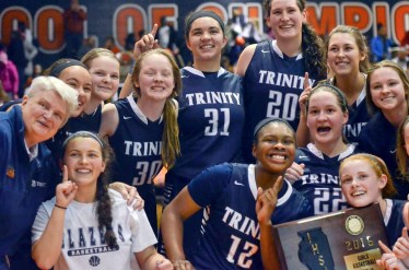The Trinity Blazers defeat rival Whitney Young High School 37-36 on Thursday, February 26. (Curtis Schuelke)