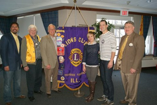 Attending the Feb. 10 induction ceremony were (from left) Alex Gallegos, the club's first vice president and president pro tem for the meeting; Lou Heine, sponsor; Frank Gangware, new member; Katie Marchetti, new member; Jonathan Marchetti, sponsor; and Robert J. Lifka, the club's third vice president and installing officer.