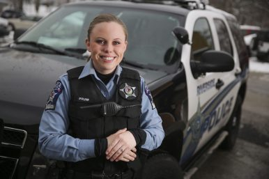 Going Solo: Riverside Officer Tammy Pruim is Riverside's the first female officer.   Chandler West/Staff Photographer