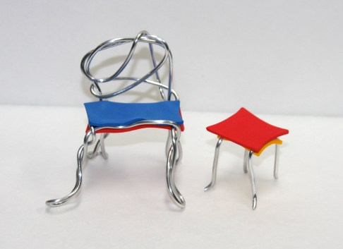 Wire and foam chair, part of the Designing Chairs class with Doodle Art & Design in Western Springs.