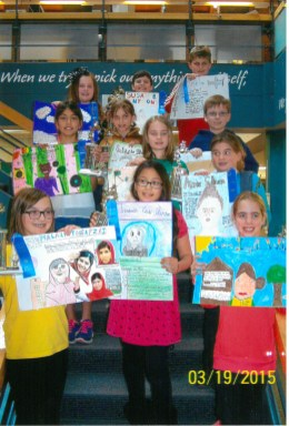 Student winners of the Riverside AAUW's annual Women's History Month poster contest.