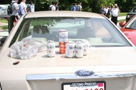 Police reported recovering open beer cans from inside Eduardo Reyes-Hurtado's Ford Fusion following the June 10 crash on First Avenue. (Photo courtesy of the Riverside Police Department)