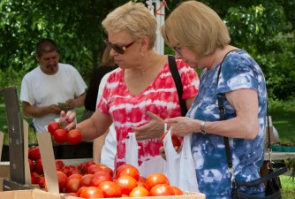 Jean Kendrick, left, looks at tomatoes at the Brookfield farmers market on Saturday, June 13, 2015. |Photo by Jennifer T. Lacey