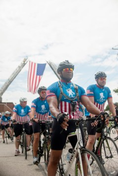 Jimmie Blockett who is still active in the military was one of the several riders who participated. The Wounded Warriors Project, rode through the towns of Forest Park and Riverside-Brookfield on June 25, 2015, it ended at the Brookfield Zoo where they were met with zoo director. The Wounded Warriors Project is set out to bring awareness to the wounded soldiers that come back from conflict zones. | William Camargo/Staff Photographer