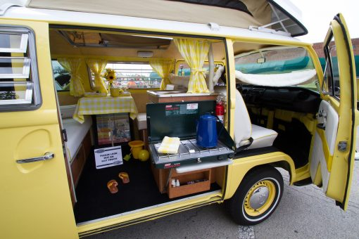 A 1971 Volkswagon West Falia Camper displays its custom work by owners Brad and Maureen Nelson.   Jennifer T. Lacey/Contributor