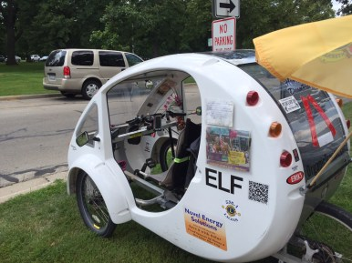 """Hanna Elshoff is riding her solar-powered tricycle she calls her """"ELF"""" (Electric. Light. Fun.) across the country to get Jimmy Carter's autograph. (Photo by Bob Uphues)"""