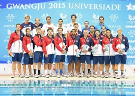 The U.S. water polo team which finished third, earning a Bronze Medal, at the World University Games in Gwangju in South Korea. Matt Farmer is pictured in the second row, far right. (Courtesy Jim Farmer)