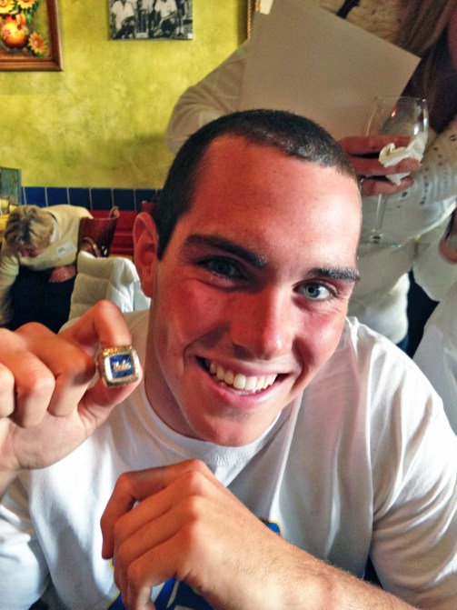 Matt Farmer, one of the greatest players in the storied history of Fenwick water polo, shows off his 2014 Men's Water Polo National Championship ring he won with UCLA. (Courtesy Jim Farmer)