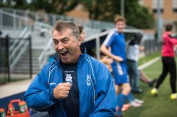 RBHS head coach Danny Makaric celebrates the Bulldogs' first goal of the season in a 2-1 victory over host Oak Park and River Forest on August 25. (Max Herman/Contributing Photographer)